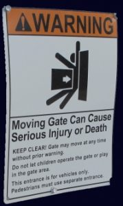 gate warning sign
